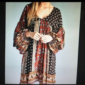 Kaktus Boho Chic Babydoll Tunic Dress